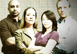 Cast of actors in The Lab, a research integrity learning tool