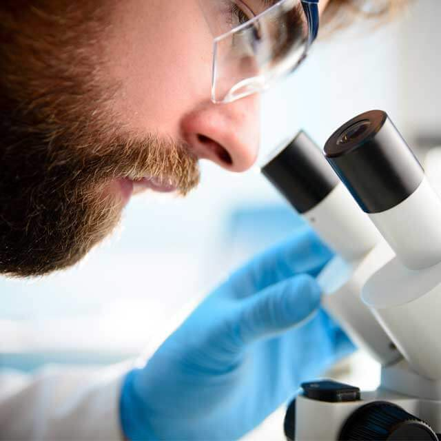 Researcher looks into microscope in lab