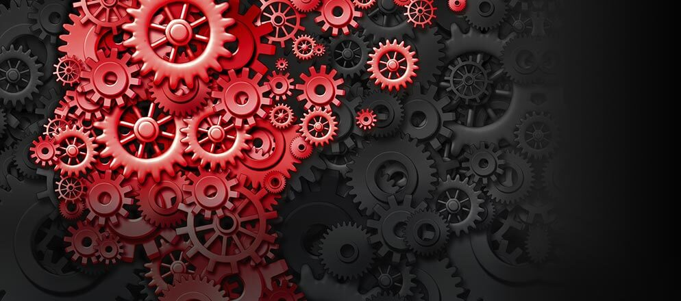 gears flowing out of person's brain