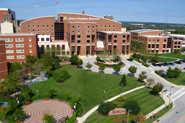 Aerial shot of Johns Hopkins Bayview Medical Center