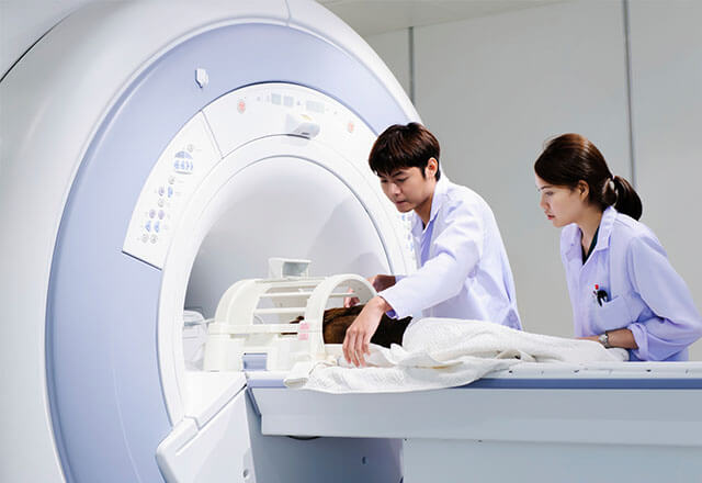 Researchers Placing a Small Animal into an MRI Machine
