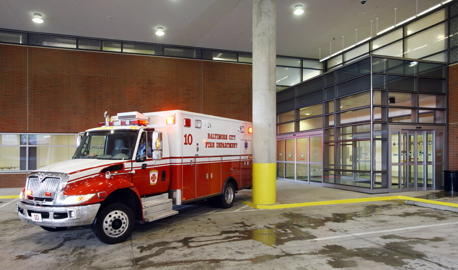 The ambulance bay is fully covered and has a dedicated entrance to ensure patient privacy.
