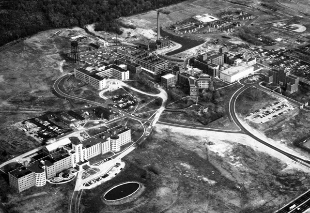 aerial shot of Johns Hopkins Bayview Medical Center in 1968