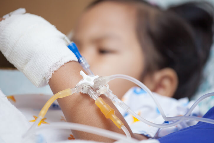 Pediatric patient in hospital bed
