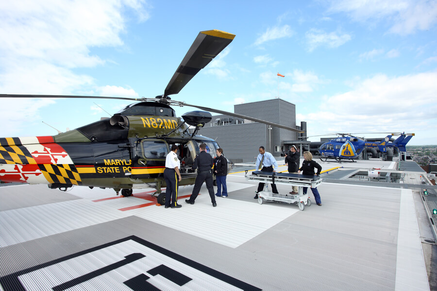 Maryland State Police use the JH Emergency Dept. helipad
