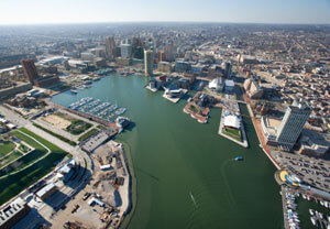 An aerial shot of Baltimore's Inner Harbor.