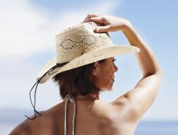 woman in sun hat
