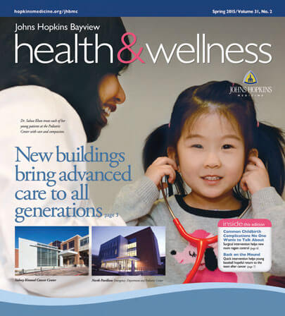 Cover image of Johns Hopkins Bayview Health & Wellness, Spring 2015