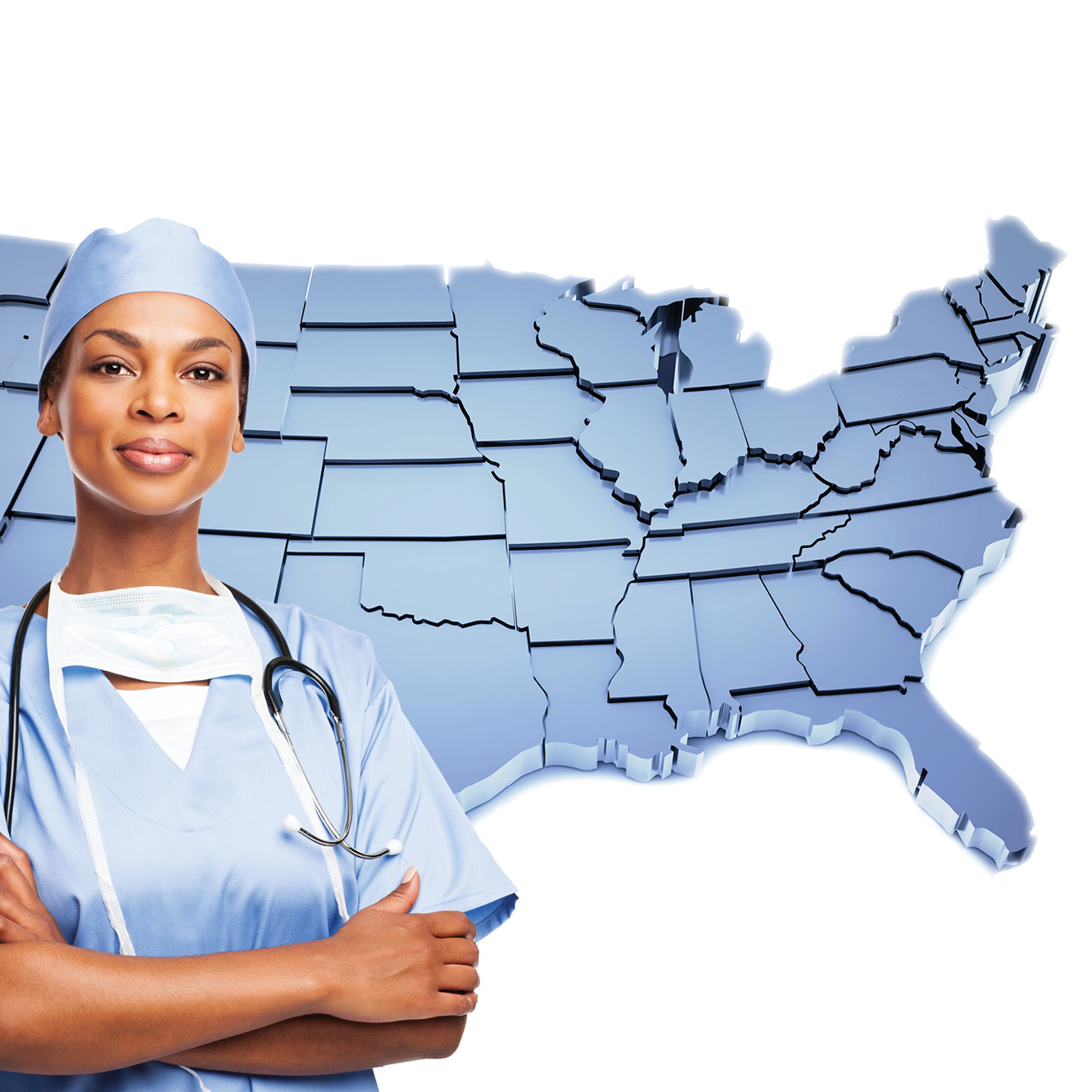 Physician standing by a map of the US