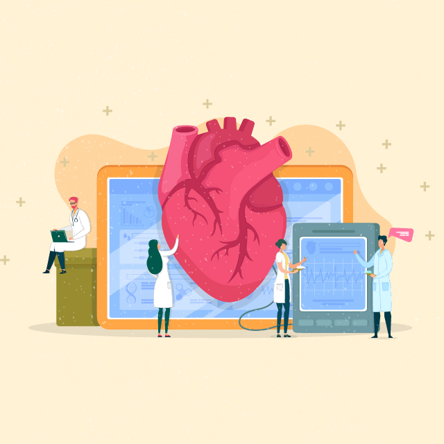 An illustration represents virtual cardiac rehabilitation at Johns Hopkins.