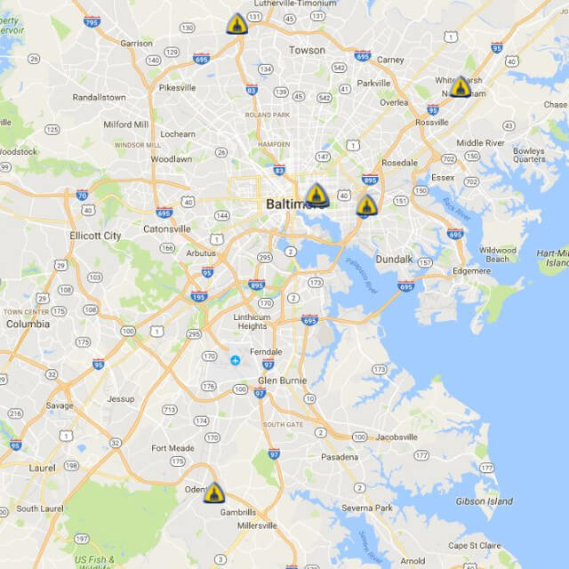 A map of Johns Hopkins rehabilitation clinic locations