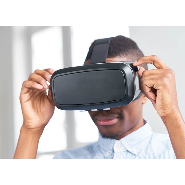 A photo shows someone wearing a virtual reality headset.