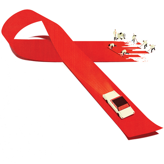Illustrated HIV/Aids ribbon