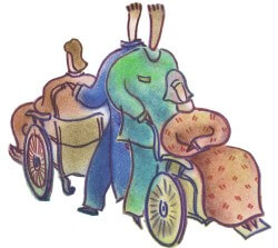 Illustration of back-to-back hospital staff pushing patients in wheelchairs
