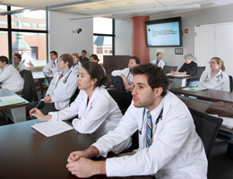 Johns Hopkins Sim Center classroom with medical students
