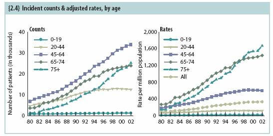 Incident counts and adjusted rates by age