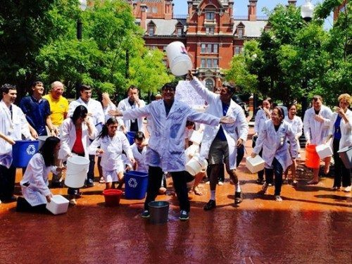 Packard Center faculty and students celebrating ALS Ice Bucket Challenge in 2014