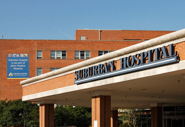 The Suburban Hospital building sign