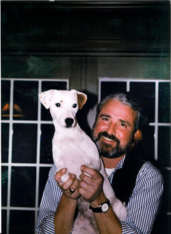 Edwin Lewis, shown here with his beloved companion, has made an outright gift to support the research of surgeon Anne Lidor.