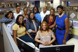 The Gyn/Ob Access Center team (left to right): Angela Booker, Corren McEachern, Shilonda Savage, Ina Barnes, Charvette Water, Marcey Newsome, Maria Curry, Cherelle Jackson, Anastasia Courtney and Kassondra Riley.