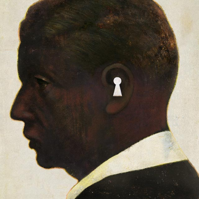profile of man's face with keyhole shape in ear