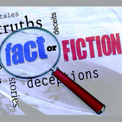 "Magnifying glass over the word ""fact"""