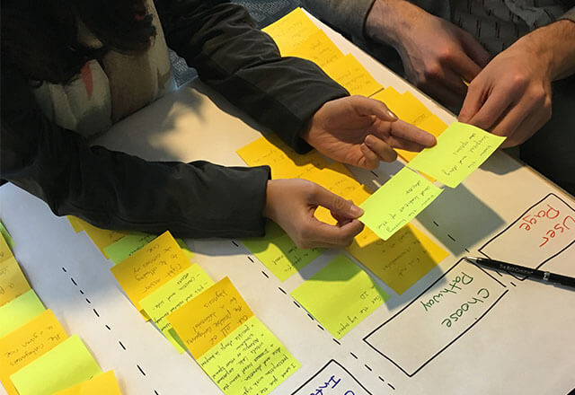 Hexcite participants organizing post-it notes on a board