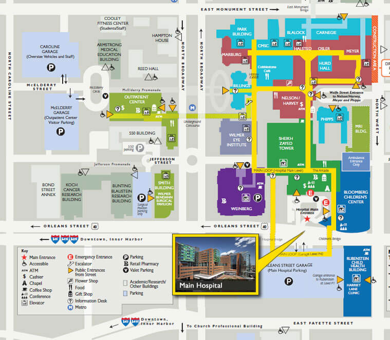 Johns Hopkins Hospital Map Getting to The Johns Hopkins Hospital