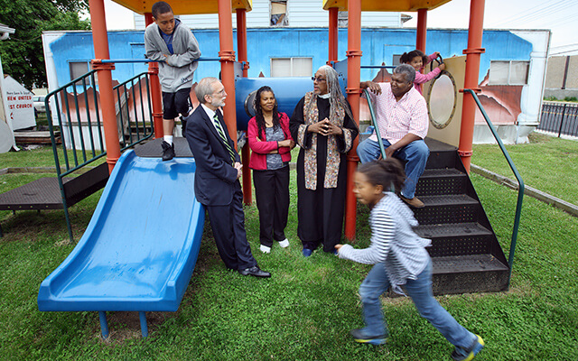 Children and adults on a playground