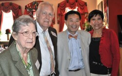 Elwyn and Barbara Powell, surgeon Stephen Yang and his wife, Maria Yang.