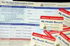 View of a medical information card used by patients to track vital information