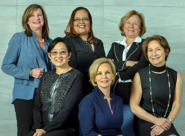 Photo shows women leaders featured on the website, including clockwise from top left: Barbara Fivush, Annette Donawa, Mary Myers, Janice Clements, Karen Horton and Tina Cheng.