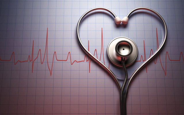 Heart made with a stethoscope