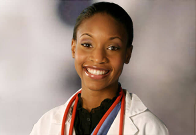 Female African-American doctor smiling
