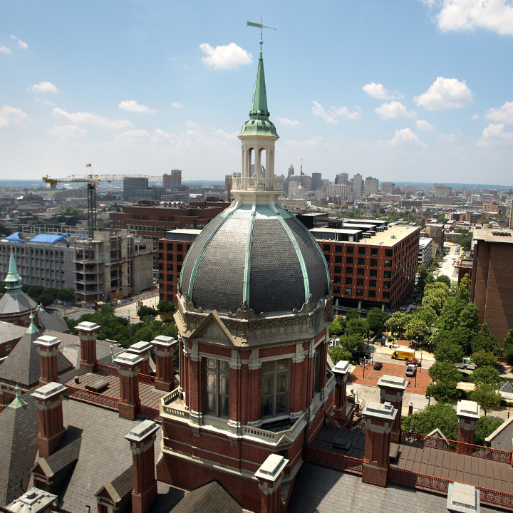 Arial shot of the johns hopkins dome building.