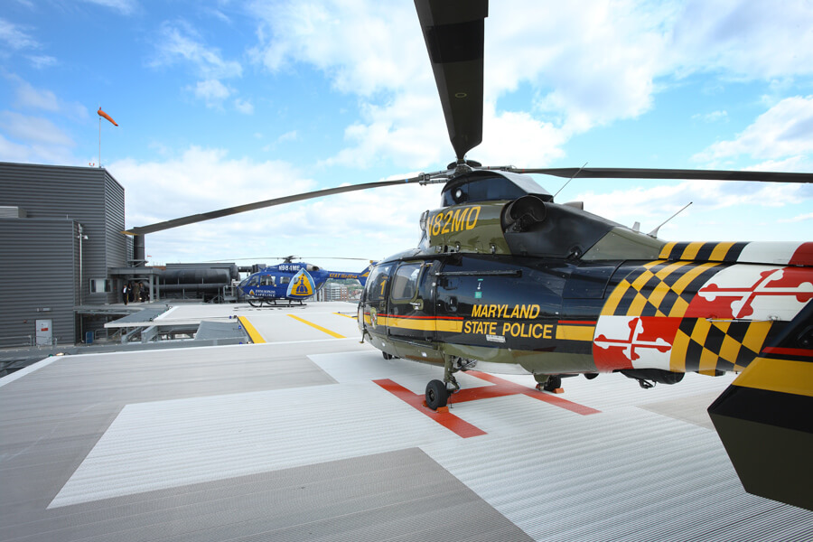 The new heliport features two helipads so that multiple emergency cases can be handled at the same time.