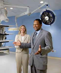 Tony Kalloo and Donalynn Parks survey part of the new endoscopy suite they feel will improve patient flow and promote medical discovery.