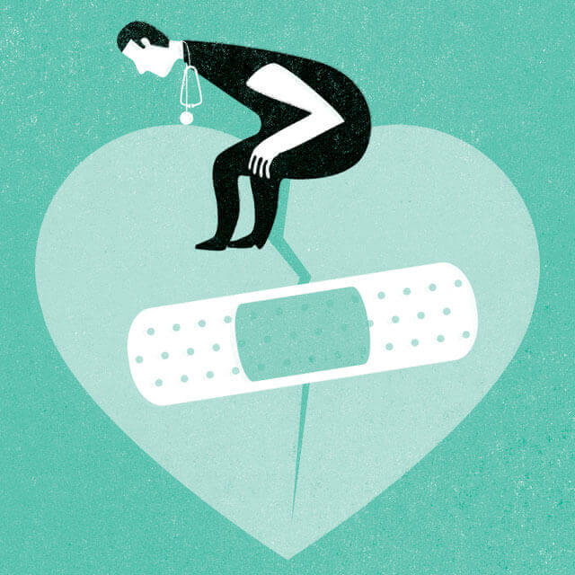 illustration of a doctor putting a bandage on a broken heart