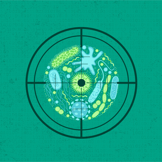 This illustration shows a target on a set of germs