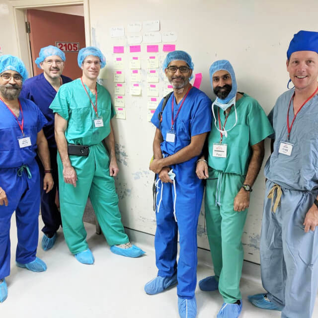 A group of orthopaedic surgeons in a Guyana hospital