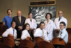 Standing, from left: John Mavropoulos, dermatology; Paul Manson, plastic surgery; Julie Lange, surgery; Suzanne Topalian, surgery; Anthony Tufaro, plastic surgery. Seated, from left, Timothy Wang, dermatology; Cathy Tran, dermatology; Evan Lipson, oncolog