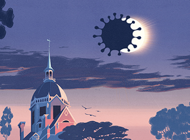 illustration showing the Hopkins Dome lit in a pink glow, as an eclipse that's shaped like a coronavirus passes over the sun.