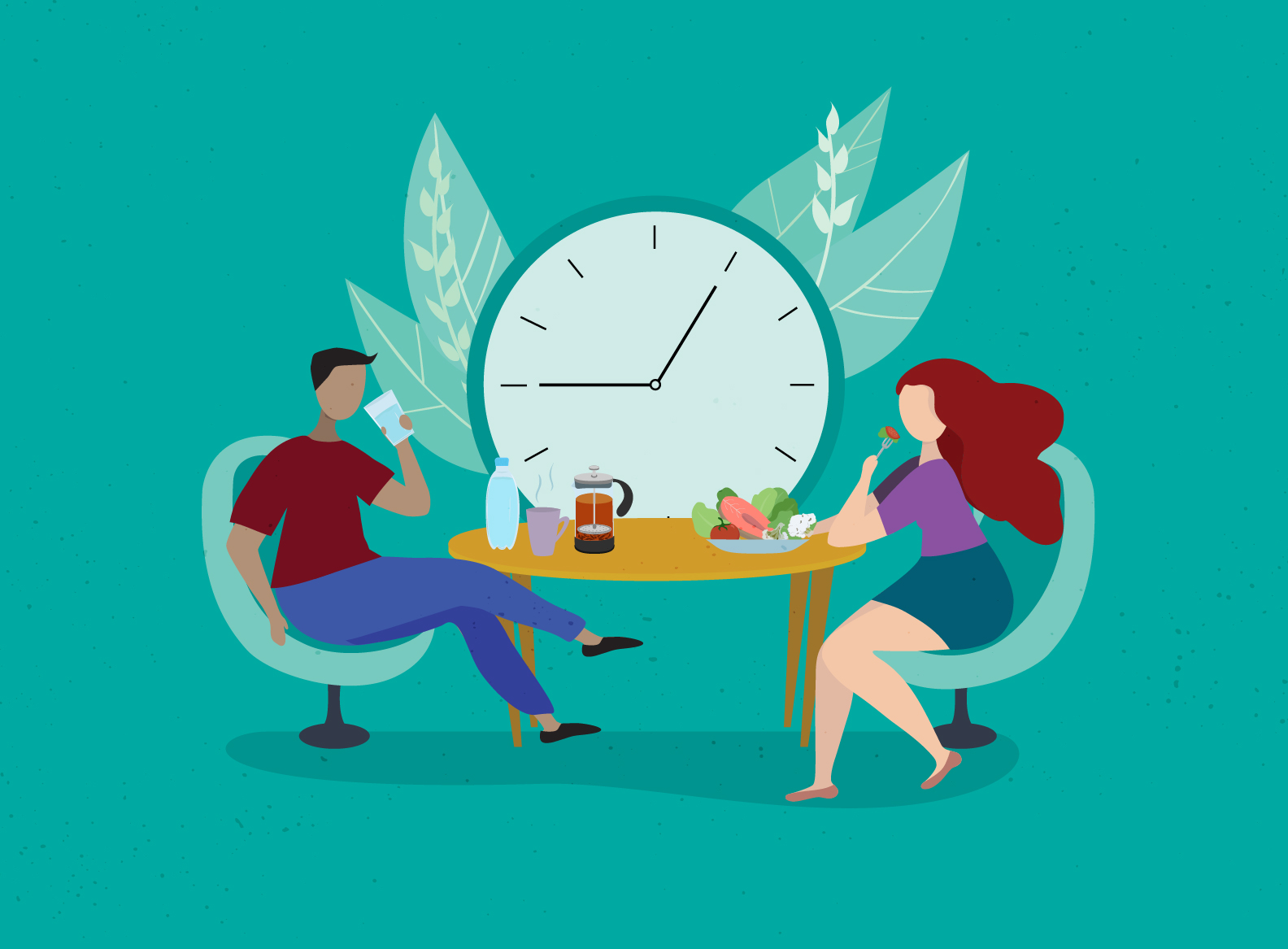 illustration of a man and woman at a table, man with empty plate and woman with full. Clock behind them