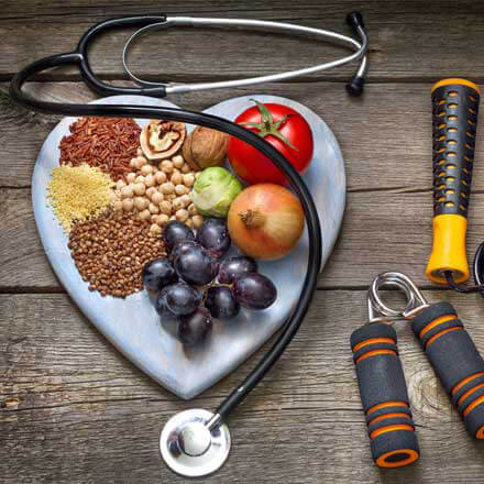 Healthy foods paired with a stethoscope