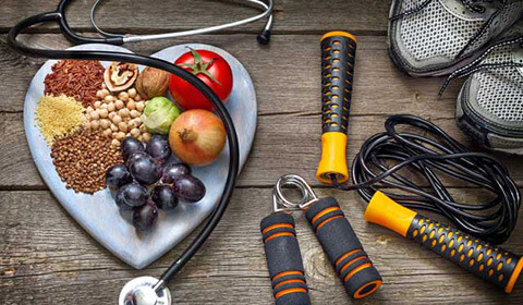 Healthy foods and exercise gear.
