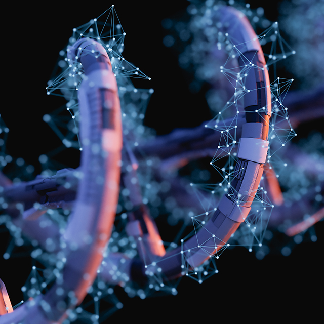 A conceptual illustration of a DNA helix shows a blue, purple and pink spiral on a black background.