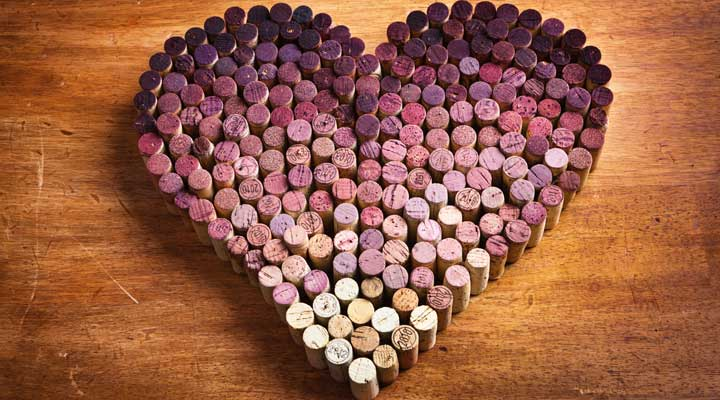 Corks arranged in the shape of a heart.