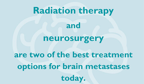 Illustrated brain with text that reads radiation therapy and neurosurgery are two of the best treatment options for brain metastases today.