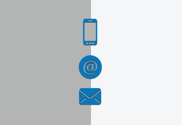 illustration of a phone, @ sign and an envelope