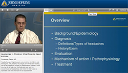 still image from Dr. Oakley's pediatric headache webinar